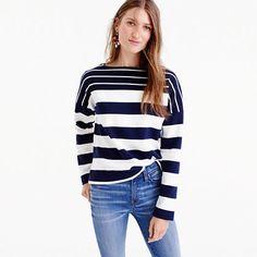 Stripe-blocked boatneck T-shirt Boat Neck, J Crew, Stripes, T Shirt, Supreme T Shirt, Tee Shirt, Tee