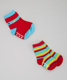Love this Red & Blue Chromatic Organic Socks Set by Baby Legs on #zulily! #zulilyfinds