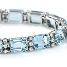Vintage Aquamarine, Platinum and Diamond Line Bracelet