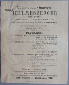 Hellmesberger Quartett - Program Vienna 1885