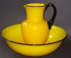 Massive Rarest Powolny Tango Pitcher/Bowl Set Yellow w/ black Trim