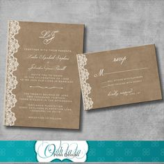 Wedding Invitation and Matching Response Card - Vintage Rustic Victorian - Customizable - DIY. $20.00, via Etsy.