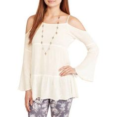 Ali & Kris Juniors Off-Shoulder Peasant Top - Walmart.com