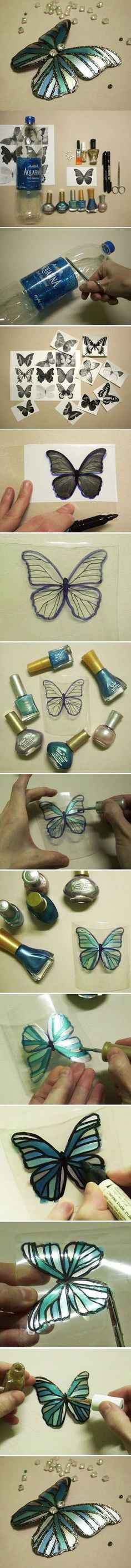 DIY Butterfly /fairy wings with a plastic bottle, fingernail polish, sharpie, glitter and a few glass beads