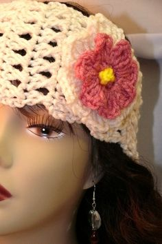 Two-In-One fashionable but chic crochet Head Warmer and Neck Warmer in Cream with detachable Flower Pin