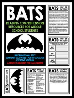 Bats: Reading Comprehension Activities for Middle School Students.  Package included informational text, summarizing activities, poetry analysis, and creative writing activities.  A great Halloween mini unit!