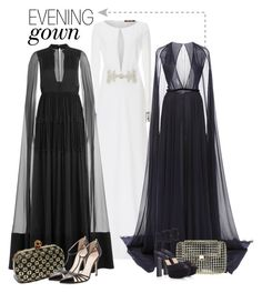 """Cape Gowns"" by cherieaustin ❤ liked on Polyvore featuring Roberto Cavalli, Valentino, Naeem Khan, Anndra Neen, Michael Kors and SJP"