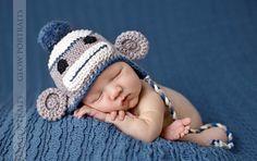 Vintage Look Baby Boy Sock Monkey Hat - Adorable Photographers Prop - organic cotton. $24.00, via Etsy.