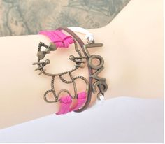 Leather Bracelet charm LOVE and CUTE KITTEN WOMEN //Price: $9.95 & FREE Shipping //     #love hashtags