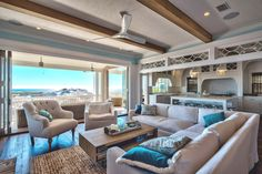 open layout living room with gulf view