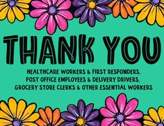 Thank You Sign for Essential Workers, Healthcare, First Responders, Delivery Drivers, Grocery Store