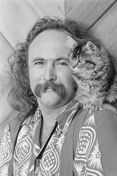 David Crosby, with a longhaired cat
