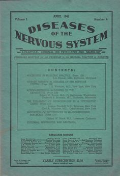 April 1940 Diseases of the Nervous System Magazine Journal Psychiatry Neurology