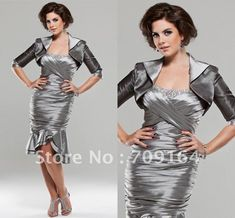 mom    Elegant Beaded With Jacket Ruched Silver Mother Of The Bride Gown FM310 US $136.54