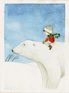 """Weiteres - Postkarte """"Eisbärjunge"""" - ein Designerstück von Martina_Hoffmann bei DaWanda"""