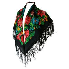 Decorative floral fringed 1970s gypsy shawl ❤ liked on Polyvore featuring accessories, scarves, vintage shawl, gypsy shawl, fringed shawls, viscose scarves and gypsy scarves