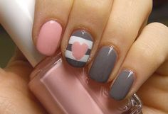 Grey, Pink, and White Nails (could do any other color! -- blue, yellow, purple, it's an endless gorgeous combination with the white and gray!)