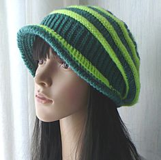 Crochet Hat/Crochet Slouchy Hat/Women Hat/Gift For Her/Gift For Girl/Hat For Girl/Green Hat/Lime Hat/Striped Hat/Slouchy Hat/Spring Hat/Hat/ by GoldenAniel on Etsy