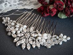 Wedding Crystal Hair Comb, Freshwater Pearl and Rhinestone Bridal Comb, Flower & Leaf Bridal Hair Accessories, Oval Crystal Comb, ALISON