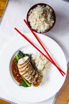 Sticky Hoisin and Ginger Pork with Rice and Asian Greens