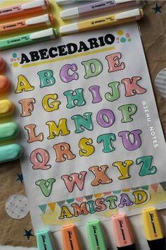 Bullet Journal Writing, Bullet Journal School, Bullet Journal Aesthetic, Bullet Journal Ideas Pages, Bullet Journal Inspiration, Hand Lettering Alphabet, Doodle Lettering, Creative Lettering, Graffiti Alphabet