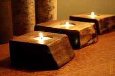 Single tealight holder Wood Candle Holder by rusticcraftdesign, $9.50