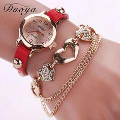 Duoya Watches Women Brand Gold Heart Luxury Leather Wristwatches Women Dress  Bracelet Chain  Bracelet Watch XR746