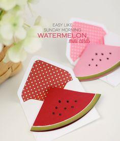 Easy Like Sunday Morning Watermelon Mini Cards   Damask Love