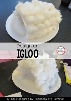 STEM Challenge: This STEM activity is another winter themed one! Kids build an igloo! Check this blog post for more winter STEM!