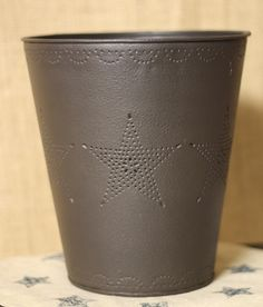 Like us on Facebook!  https://www.facebook.com/AllysonsPlaceDecor  Star Punched Waste Basket / Primitive Decor / Country Decor / Trash Can / Powder Room / Office