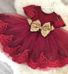 On Sale!! Cheap Sequin Bow Baby Girl Tutu Dress - Burgundy Knee Length Lace Gold Sequin Embroidered Baby Girl Party Dress  Material: Tulle mesh, Sequin, Lace, Satin Available from 6 months - 6 years