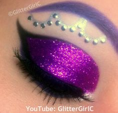 Vibrant glittery purple eye shadow with crystal accents inspired by Monster High's Ghostly Gossip, Spectra Vondergeist by GlitterGirlC | Makeup by Cecilie A.
