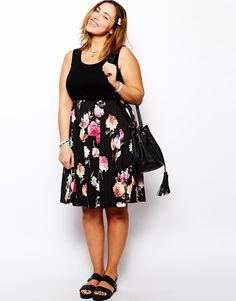 ASOS CURVE - Skater Dress With Floral Skirt And Rib Top