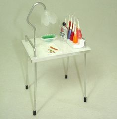 Miniature Beauty Salon Manicurist Nail Table Miniatures for Dollhouse not Real | eBay