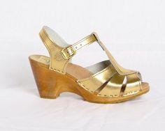 gold sandle clogs