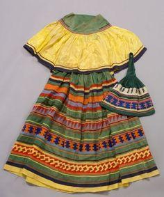 Seminole Woman's Dress and Handbag, c. 1920s.