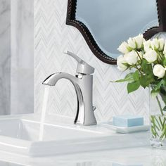 Shop Moen Voss Chrome 1-Handle Single Hole WaterSense Bathroom Faucet (Drain Included) at Lowes.com
