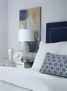 Image detail for -nightstand, navy upholstered headboard, purple-gray walls, white ...