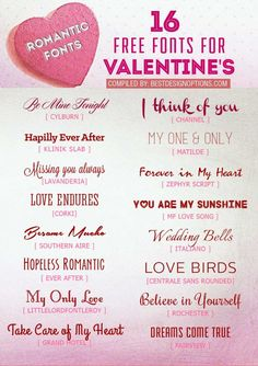 For your DIY projects this Valentine 2015, we compiled 16 of the most romantic fonts you can download and use for free.