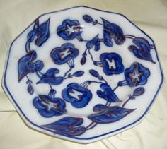 "Gaudy Ironstone 9 1/4"" Dinner Plate  Morning Glory Pattern Copper Luster"
