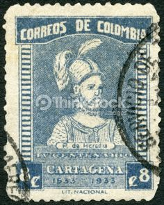 Photo : Postage stamp Colombia 1933  shows Pedro de Heredia 1505-1554