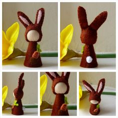 Easter Bunny with Carrot nature table decoration by stitchandpurl