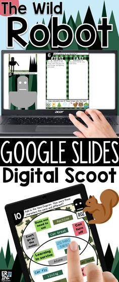 After reading The Wild Robot novel by Peter Brown, play this paperless whole class digital game on Google. Instead of a paper task card, students set up a template on Google Slides then scoot from device to device responding to and completing survey questions and tasks with text and Emojis.  Works on all devices - iPads, Chromebooks, etc. with Google Drive, Google Slides and/or Google Classroom. Classroom Games, Google Classroom, The Wild Robot, Earth Day Activities, Learning Activities, Reading Projects, Technology Lessons, Reading Response, Reading Workshop
