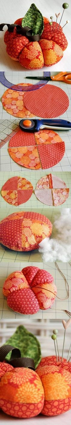 DIY Cute Pumpkin Pincushion Craft: Pre-heat oven to 200 º. To curl ribbon, tightly+evenly wrap grosgrain ribbon around narrow wooden dowel+pin each end in place with wooden clothespins. Lightly spray ribbon covered dowel with spray starch. Place on cookie sheet+bake for 4-5 min.. Let cool, unwrap+use on projects.