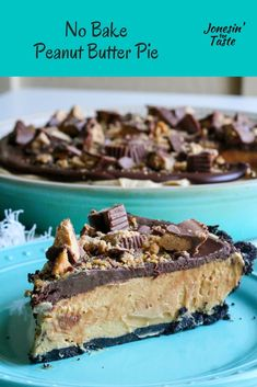 This easy no bake peanut butter pie has an Oreo crust with a creamy peanut butter filling made WITHOUT cream cheese, a silky chocolate ganache, and chopped Reese's. #jonesinfortaste #nobakedessert #pies Peanut Butter Filling, Peanut Butter Desserts, Butter Pie, Easy No Bake Desserts, Summer Desserts, Delicious Desserts, Summer Recipes, Homemade Whipped Cream, Homemade Pie