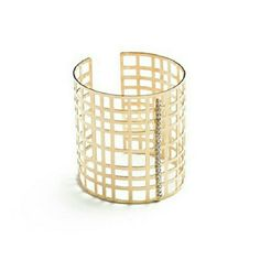 Sexy Caged Gold Cuff Multi-Stone Long Cuff Bracelet. It's flexible enough to open wide and squeeze to fit. Such a fun piece! Jewelry Bracelets