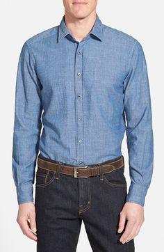 Men's Glanshirt 'Kent' Trim Fit Chambray Shirt