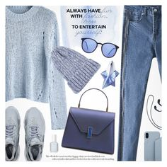 """Blue Dream"" by pokadoll ❤ liked on Polyvore featuring NIKE, Essie, Thierry Mugler and Samsung"