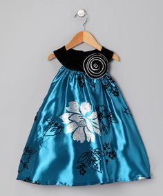 Take a look at this Blue & Silver Floral Yoke Dress - Toddler & Girls by Blue Pearl by Mulberribush on #zulily today!