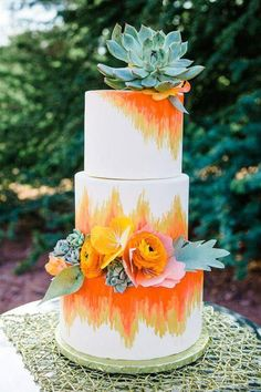Okay this colorful and bright orange, yellow and white beach wedding cake is gorgeous! And those succulents, they're the perfect wedding cake topper. Naked Wedding Cake, Painted Wedding Cake, Summer Wedding Cakes, Amazing Wedding Cakes, Summer Wedding Colors, Wedding Cake Rustic, Boho Wedding, Orange Wedding Cakes, Crazy Wedding